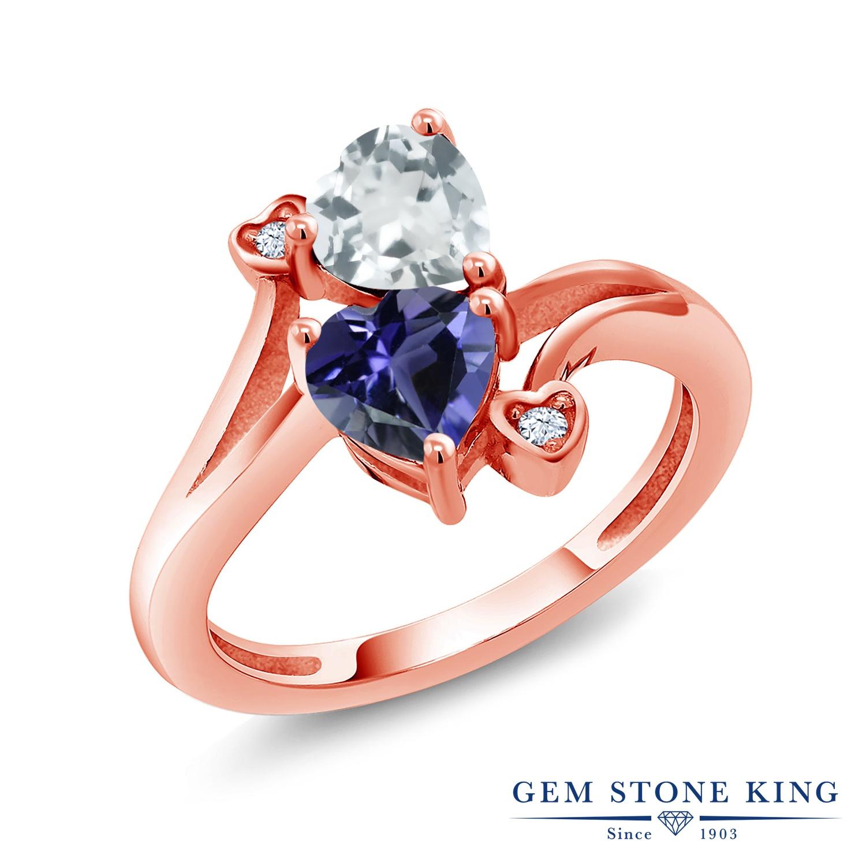 1.28カラット 天然 アクアマリン アイオライト (ブルー) 指輪 リング レディース シルバー925 ピンクゴールド 加工 ダブルストーン 天然石 3月 誕生石 金属アレルギー対応