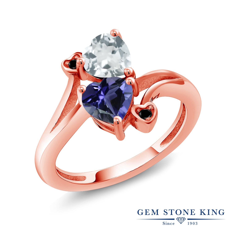 1.28カラット 天然 アクアマリン 指輪 レディース リング アイオライト (ブルー) ブラックダイヤモンド ピンクゴールド 加工 シルバー925 ブランド おしゃれ ハート 水色 ダブルストーン 天然石 3月 誕生石 金属アレルギー対応