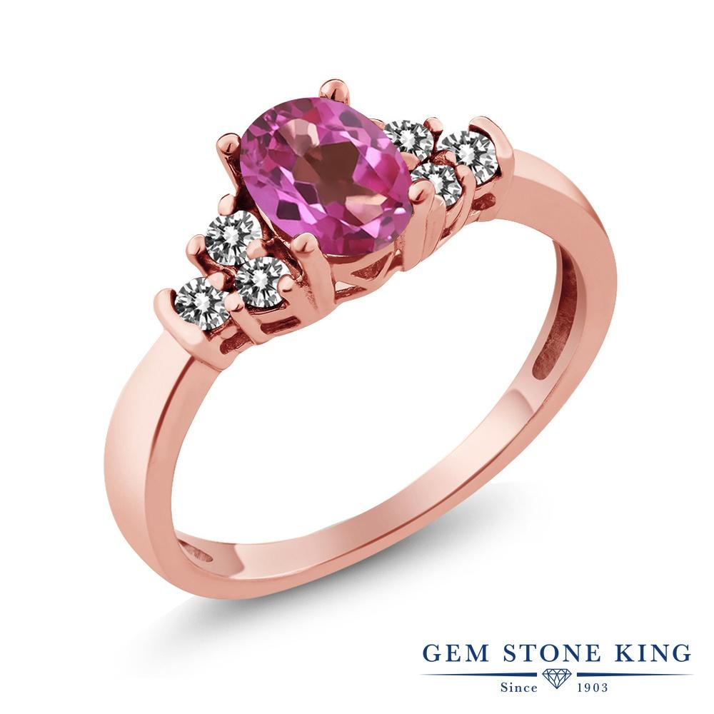 Gem Stone King 0.75カラット 天然 ミスティックトパーズ (ピンク) 天然 ダイヤモンド シルバー925 ピンクゴールドコーティング 指輪 リング レディース マルチストーン 天然石 金属アレルギー対応 誕生日プレゼント