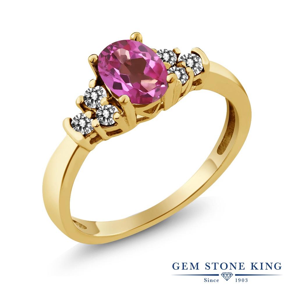 Gem Stone King 0.75カラット 天然 ミスティックトパーズ (ピンク) 天然 ダイヤモンド シルバー925 イエローゴールドコーティング 指輪 リング レディース マルチストーン 天然石 金属アレルギー対応 誕生日プレゼント