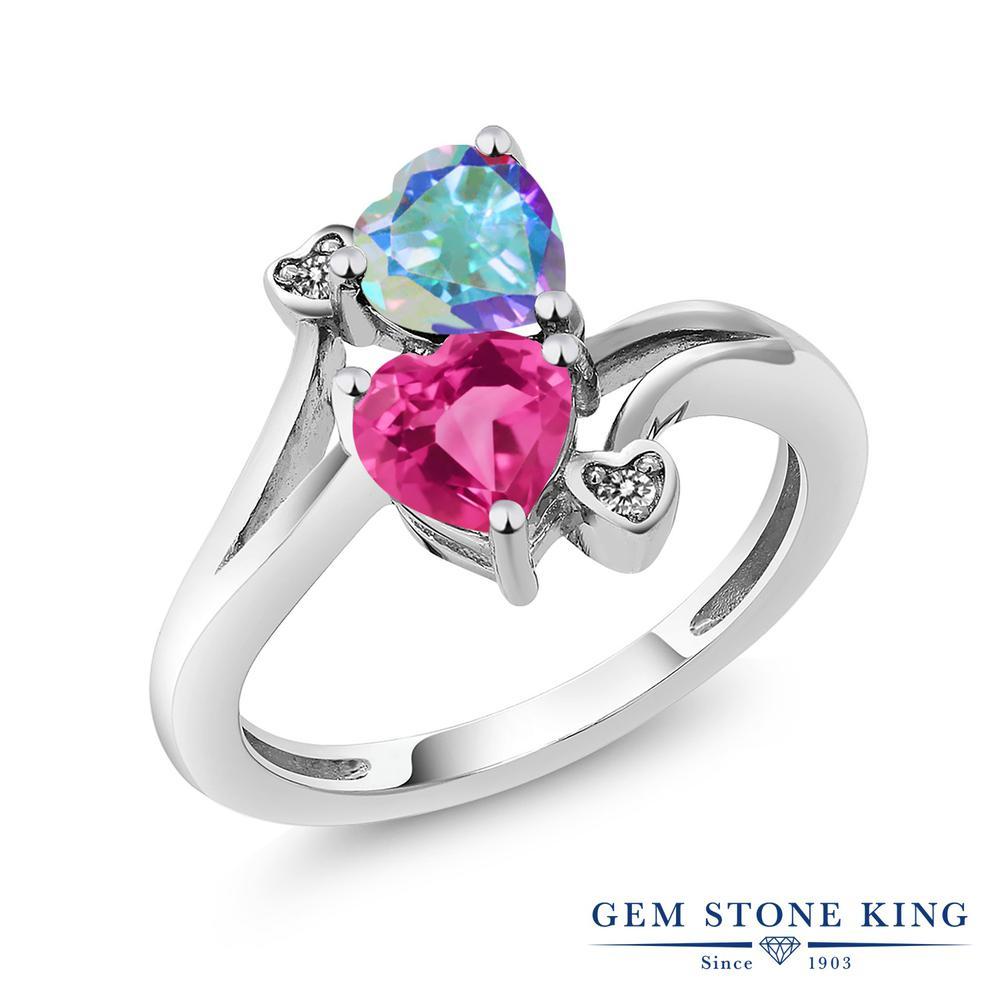 1.93カラット 天然石 ミスティックトパーズ (マーキュリーミスト) 指輪 レディース リング 天然 (ピンク) ダイヤモンド シルバー925 ブランド おしゃれ ハート ダブルストーン 金属アレルギー対応