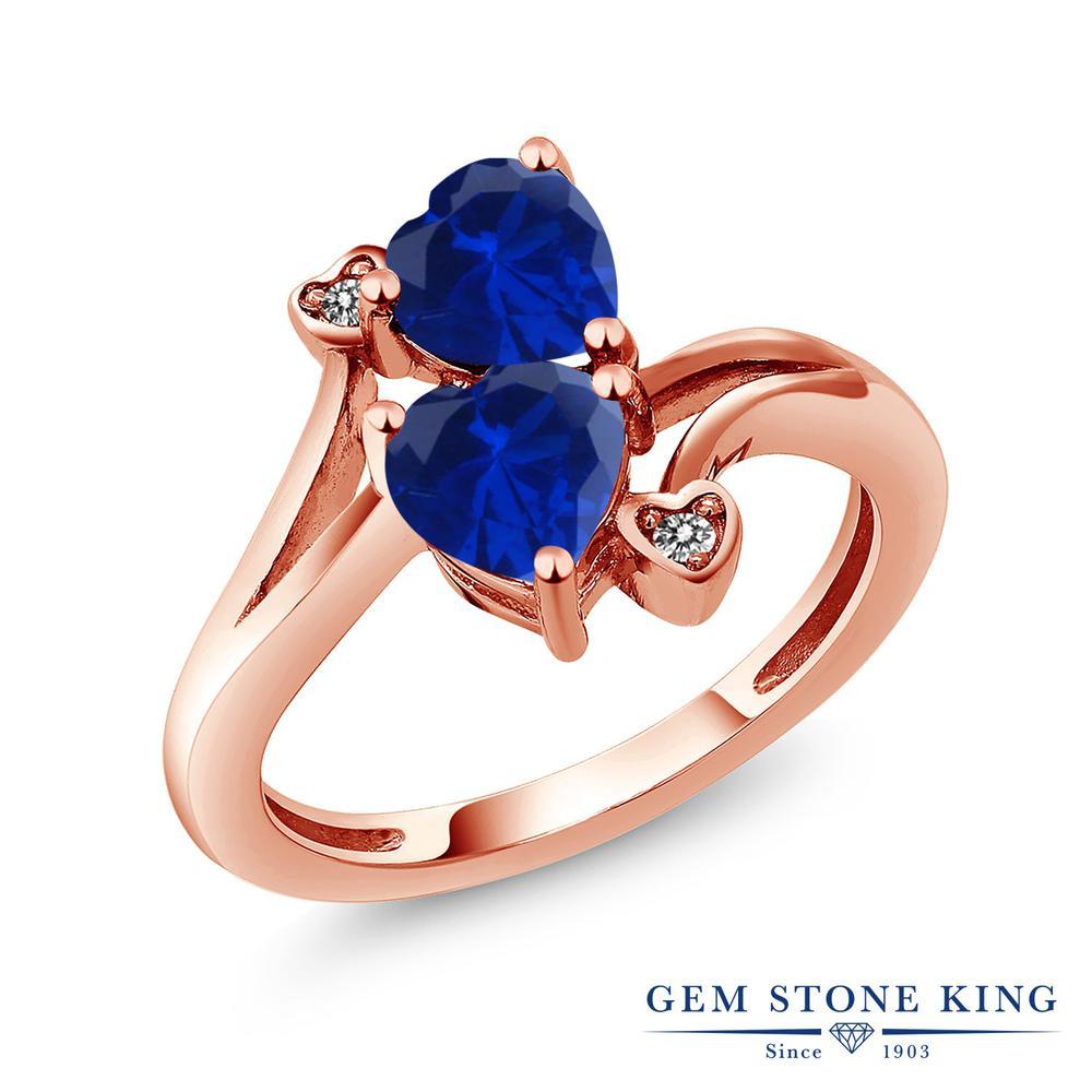 Gem Stone King 1.63カラット シミュレイテッド サファイア 天然 ダイヤモンド 指輪 リング レディース シルバー925 ピンクゴールド 加工 ダブルストーン 金属アレルギー対応