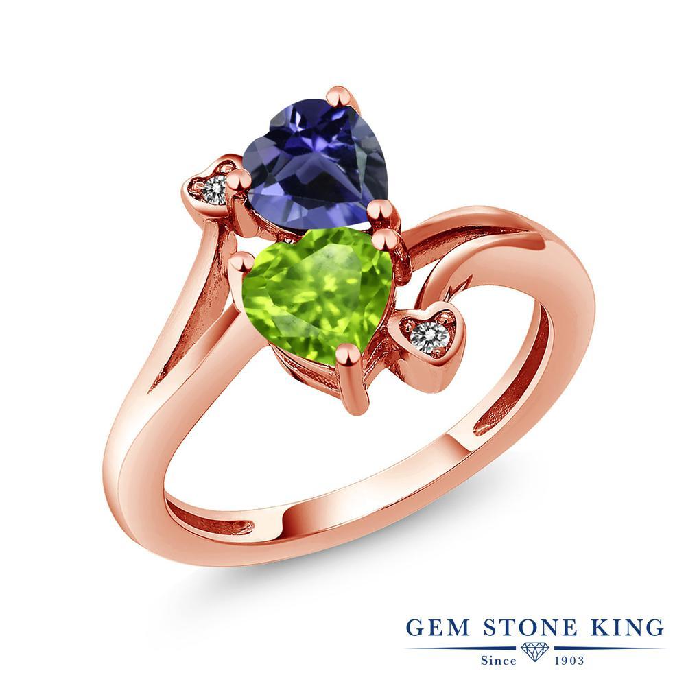 1.44カラット 天然 アイオライト (ブルー) 天然石 ペリドット ダイヤモンド 指輪 リング レディース シルバー925 ピンクゴールド 加工 ダブルストーン 金属アレルギー対応