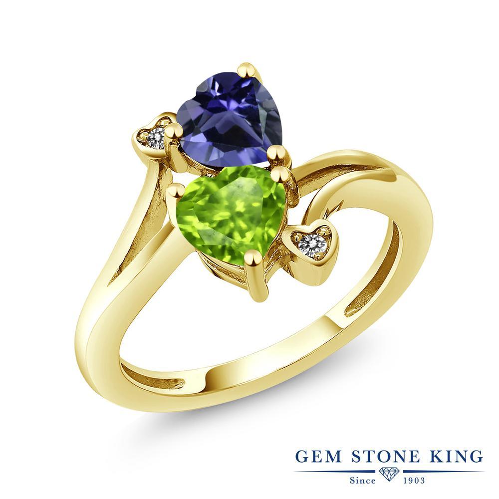 Gem Stone King 1.44カラット 天然 アイオライト (ブルー) 天然石 ペリドット ダイヤモンド 指輪 リング レディース シルバー925 イエローゴールド 加工 ダブルストーン 金属アレルギー対応