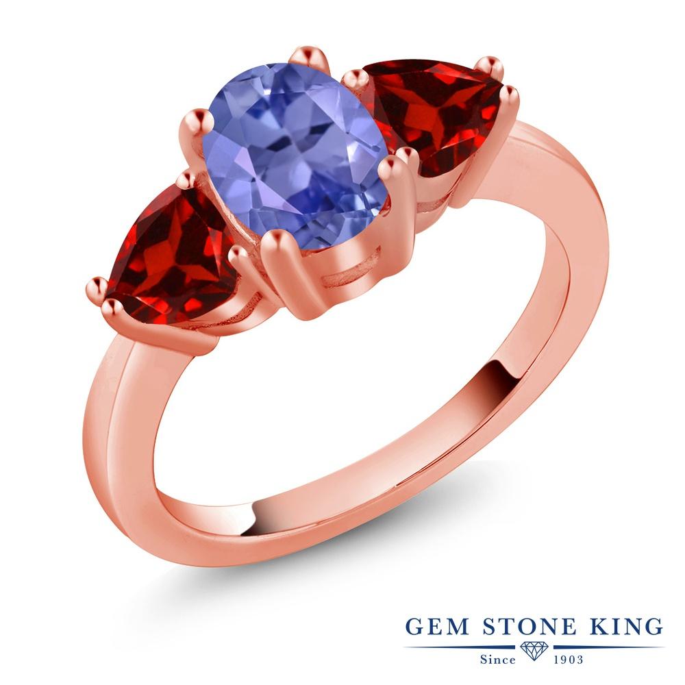【10%OFF】 Gem Stone King 2.24カラット 天然石 タンザナイト 天然 ガーネット 指輪 リング レディース シルバー925 ピンクゴールド 加工 大粒 シンプル スリーストーン 12月 誕生石 クリスマスプレゼント 女性 彼女 妻 誕生日