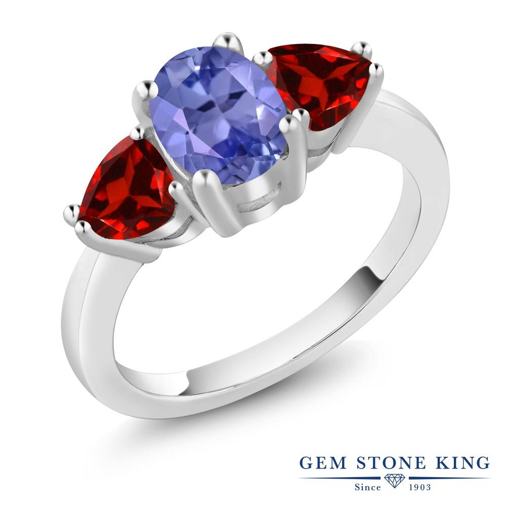 【10%OFF】 Gem Stone King 2.24カラット 天然石 タンザナイト 天然 ガーネット 指輪 リング レディース シルバー925 大粒 シンプル スリーストーン 12月 誕生石 クリスマスプレゼント 女性 彼女 妻 誕生日
