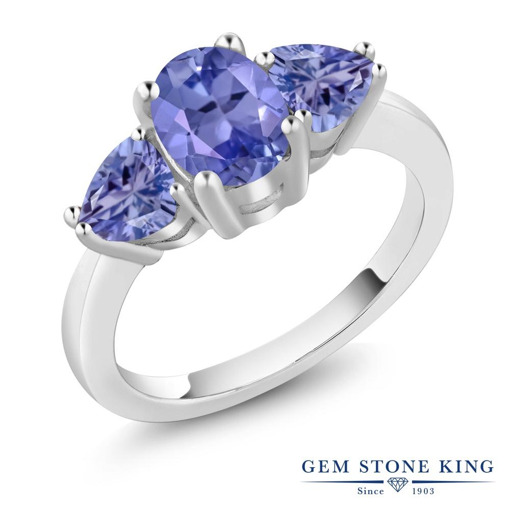1.96カラット 天然石 タンザナイト 指輪 レディース リング シルバー925 ブランド おしゃれ 3連 青 大粒 シンプル スリーストーン 12月 誕生石 プレゼント 女性 彼女 妻 誕生日