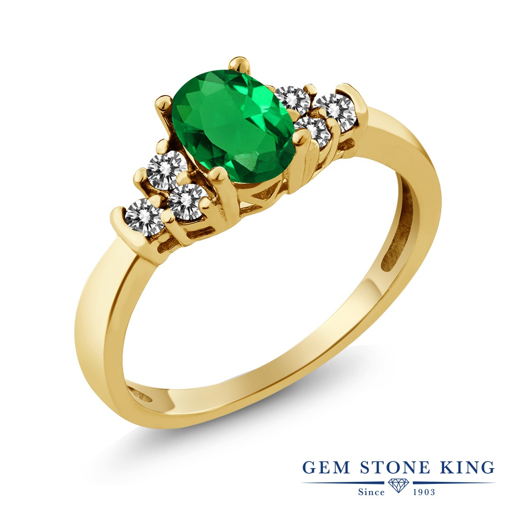 Gem Stone King 0.6カラット ナノエメラルド 天然 ダイヤモンド シルバー925 イエローゴールドコーティング 指輪 リング レディース 小粒 マルチストーン 金属アレルギー対応 誕生日プレゼント