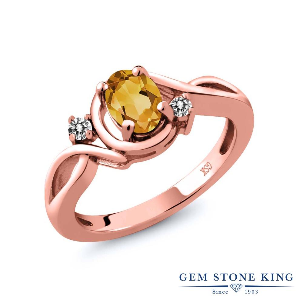 【10%OFF】 Gem Stone King 0.67カラット 天然 シトリン ダイヤモンド 指輪 リング レディース シルバー925 ピンクゴールド 加工 シンプル ソリティア 天然石 11月 誕生石 クリスマスプレゼント 女性 彼女 妻 誕生日