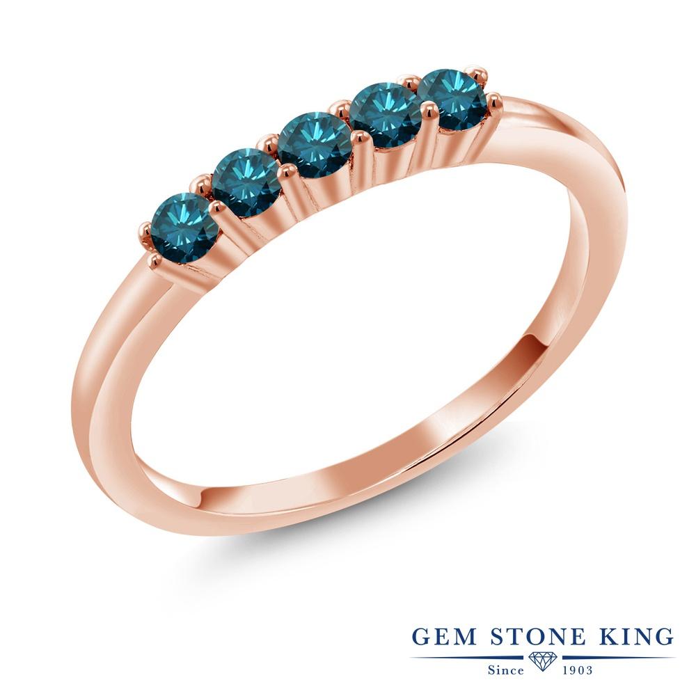Gem Stone King 0.33カラット 天然ブルーダイヤモンド シルバー 925 ローズゴールドコーティング 指輪 リング レディース 小粒 天然石 誕生石 誕生日プレゼント