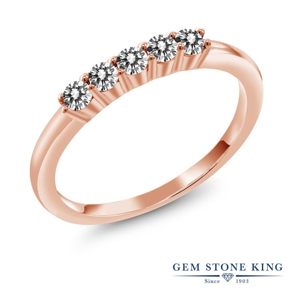 【クーポンで10%OFF】 Gem Stone King 0.33カラット 天然 ダイヤモンド シルバー925 ピンクゴールドコーティング 指輪 リング レディース ホワイト ダイヤ 小粒 ハーフエタニティ 天然石 4月 誕生石 金属アレルギー対応 結婚指輪 ウェディングバンド