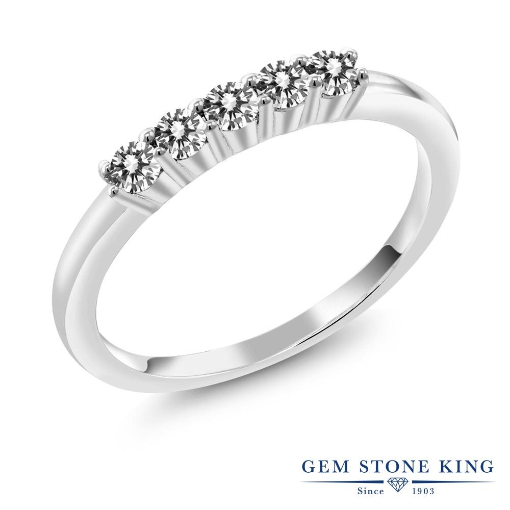 【10%OFF】 0.33カラット 天然 ダイヤモンド 指輪 レディース リング シルバー925 ブランド おしゃれ 5連 ホワイト ダイヤ 白 小粒 細身 ハーフエタニティ 天然石 4月 誕生石 結婚指輪 ウェディングバンド