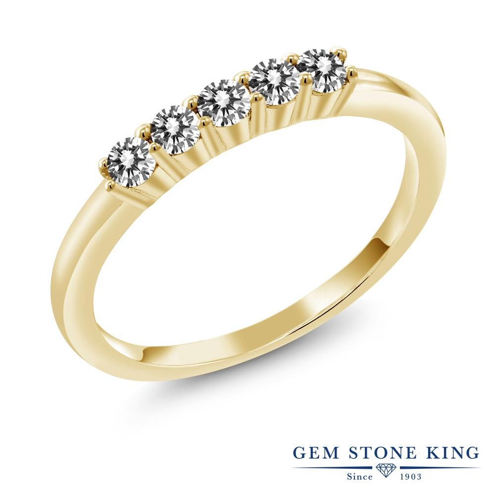 【クーポンで10%OFF】 Gem Stone King 0.33カラット 天然 ダイヤモンド シルバー925 イエローゴールドコーティング 指輪 リング レディース ホワイト ダイヤ 小粒 ハーフエタニティ 天然石 4月 誕生石 金属アレルギー対応 結婚指輪 ウェディングバンド
