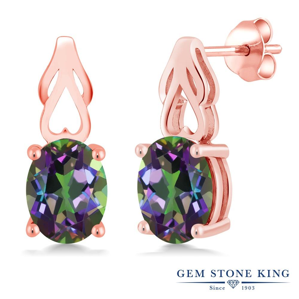 Gem Stone King 3.6カラット 天然石 ミスティックトパーズ (グリーン) シルバー925 ピンクゴールドコーティング ピアス レディース 大粒 シンプル ぶら下がり 天然石 金属アレルギー対応 誕生日プレゼント