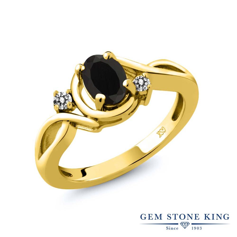 【10%OFF】 Gem Stone King 0.87カラット 天然 オニキス ダイヤモンド 指輪 リング レディース シルバー925 イエローゴールド 加工 シンプル ソリティア 天然石 8月 誕生石 クリスマスプレゼント 女性 彼女 妻 誕生日