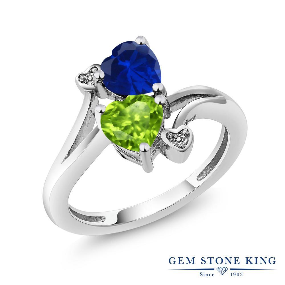 リング レディース 特別セール品 人気 ブランド 女性 プレゼント 1.66カラット 合成サファイア 指輪 天然石 ペリドット ハート ダブルストーン 青 おしゃれ 天然 金属アレルギー対応 流行 お返し かわいい ダイヤモンド シルバー925 ホワイトデー
