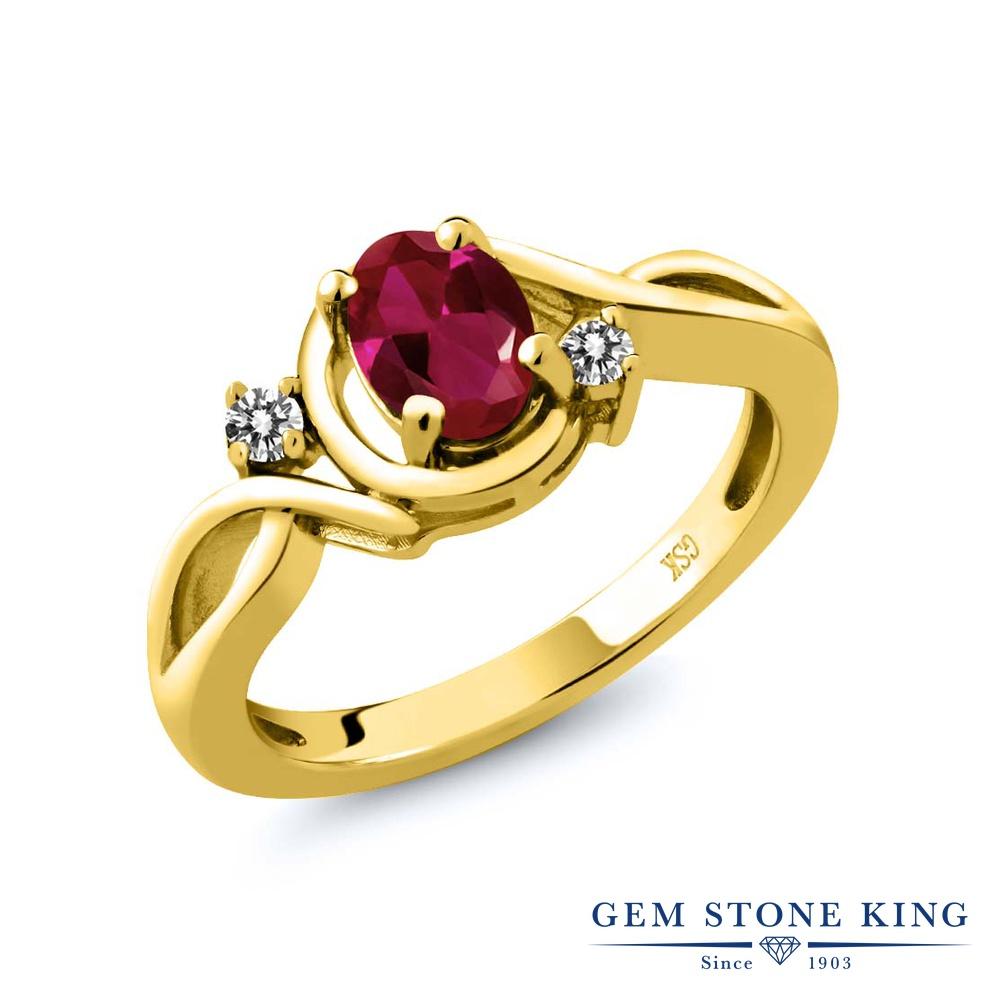 Gem Stone King 0.97カラット 合成ルビー 天然 ダイヤモンド シルバー925 イエローゴールドコーティング 指輪 リング レディース シンプル ソリティア 金属アレルギー対応 誕生日プレゼント