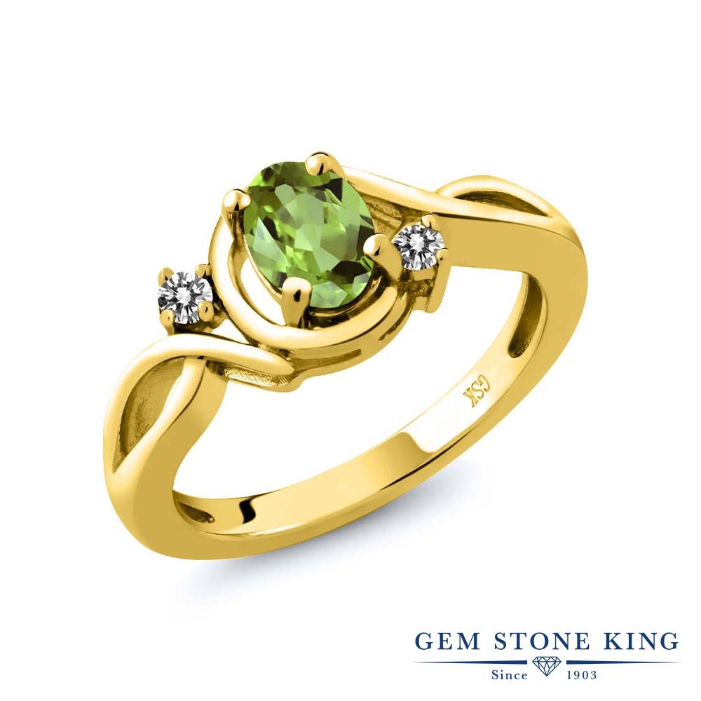 【10%OFF】 Gem Stone King 0.87カラット 天然石 ペリドット 天然 ダイヤモンド 指輪 リング レディース シルバー925 イエローゴールド 加工 シンプル ソリティア 8月 誕生石 クリスマスプレゼント 女性 彼女 妻 誕生日