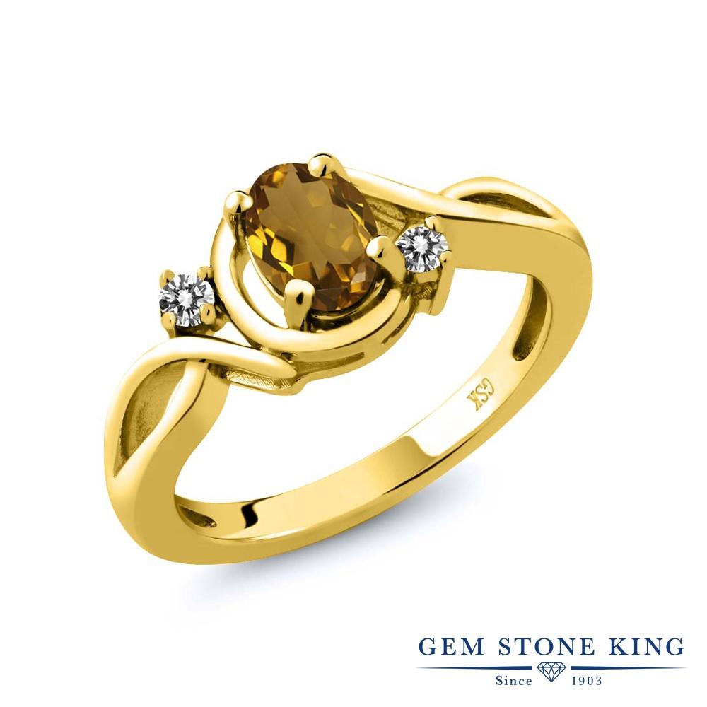 0.77カラット 天然石 ウィスキークォーツ 指輪 レディース リング 天然 ダイヤモンド イエローゴールド 加工 シルバー925 ブランド おしゃれ ツイスト ねじれ シンプル ソリティア プレゼント 女性 彼女 妻 誕生日