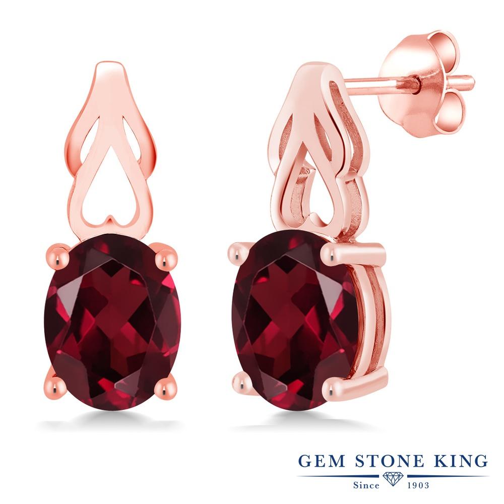 Gem Stone King 4カラット 天然 ロードライトガーネット シルバー925 ピンクゴールドコーティング ピアス レディース 大粒 シンプル ぶら下がり 天然石 金属アレルギー対応 誕生日プレゼント
