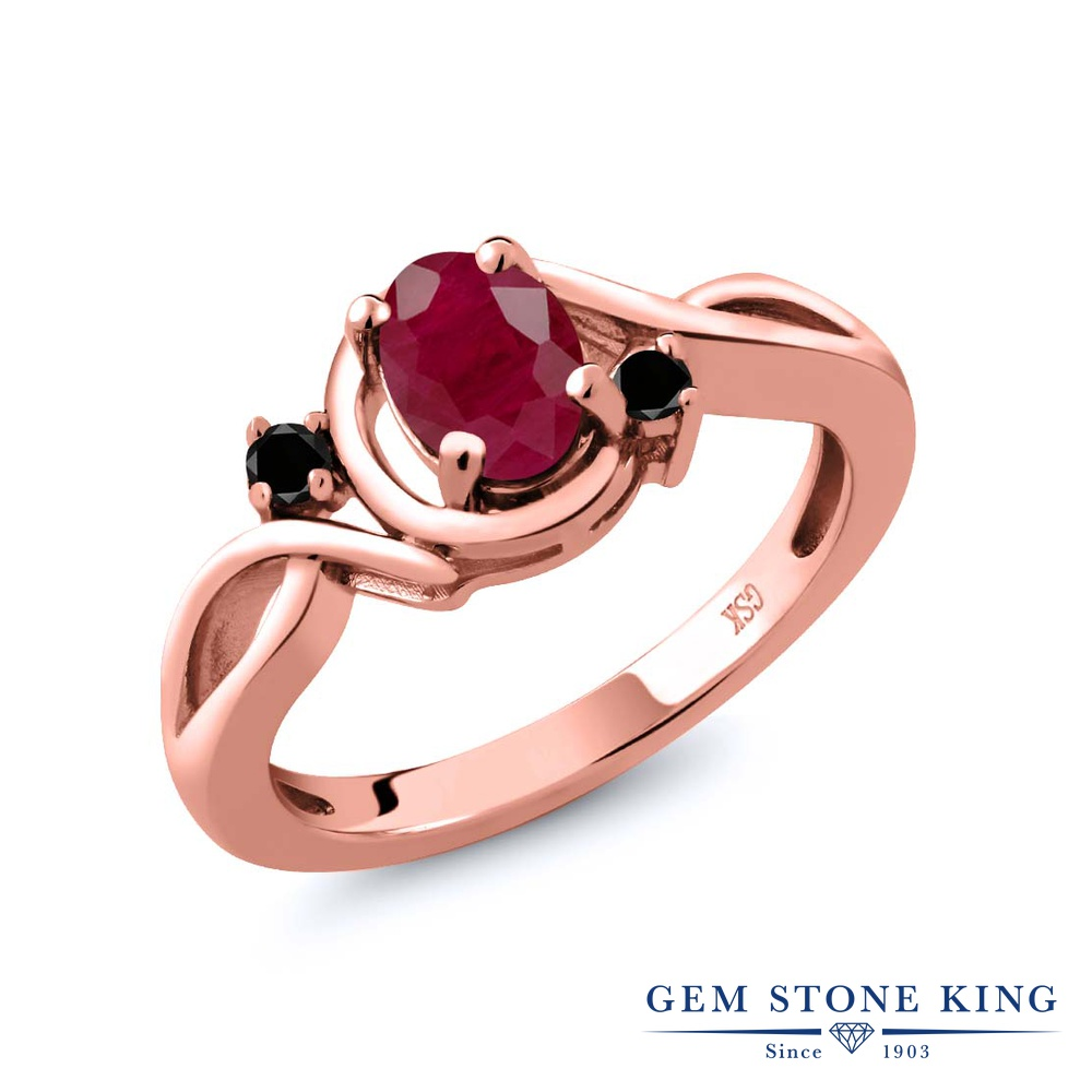Gem Stone King 1.09カラット 天然 ルビー 天然ブラックダイヤモンド シルバー925 ピンクゴールドコーティング 指輪 リング レディース 大粒 シンプル ソリティア 天然石 7月 誕生石 金属アレルギー対応 誕生日プレゼント