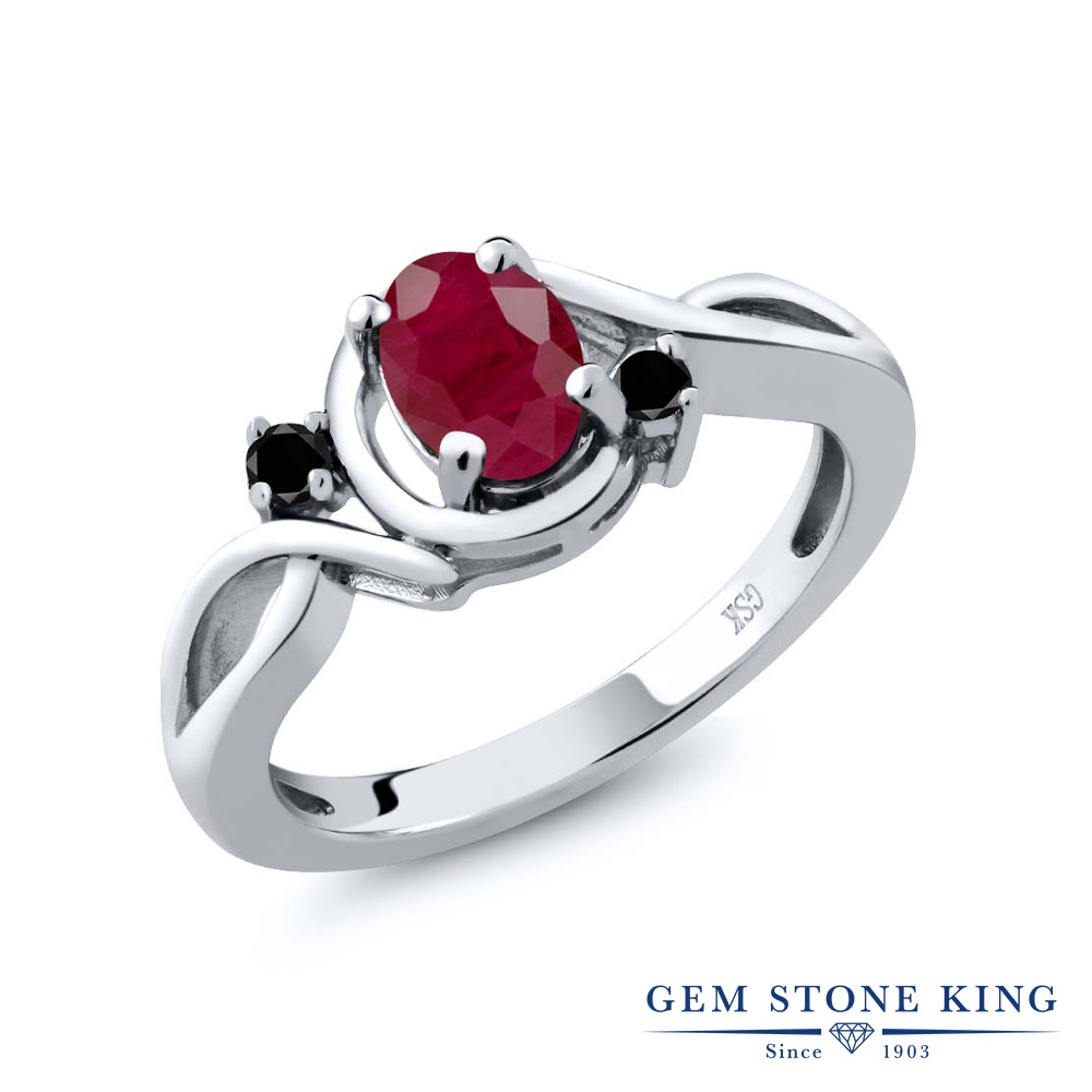 Gem Stone King 1.09カラット 天然 ルビー 天然ブラックダイヤモンド シルバー925 指輪 リング レディース 大粒 シンプル ソリティア 天然石 7月 誕生石 金属アレルギー対応 誕生日プレゼント