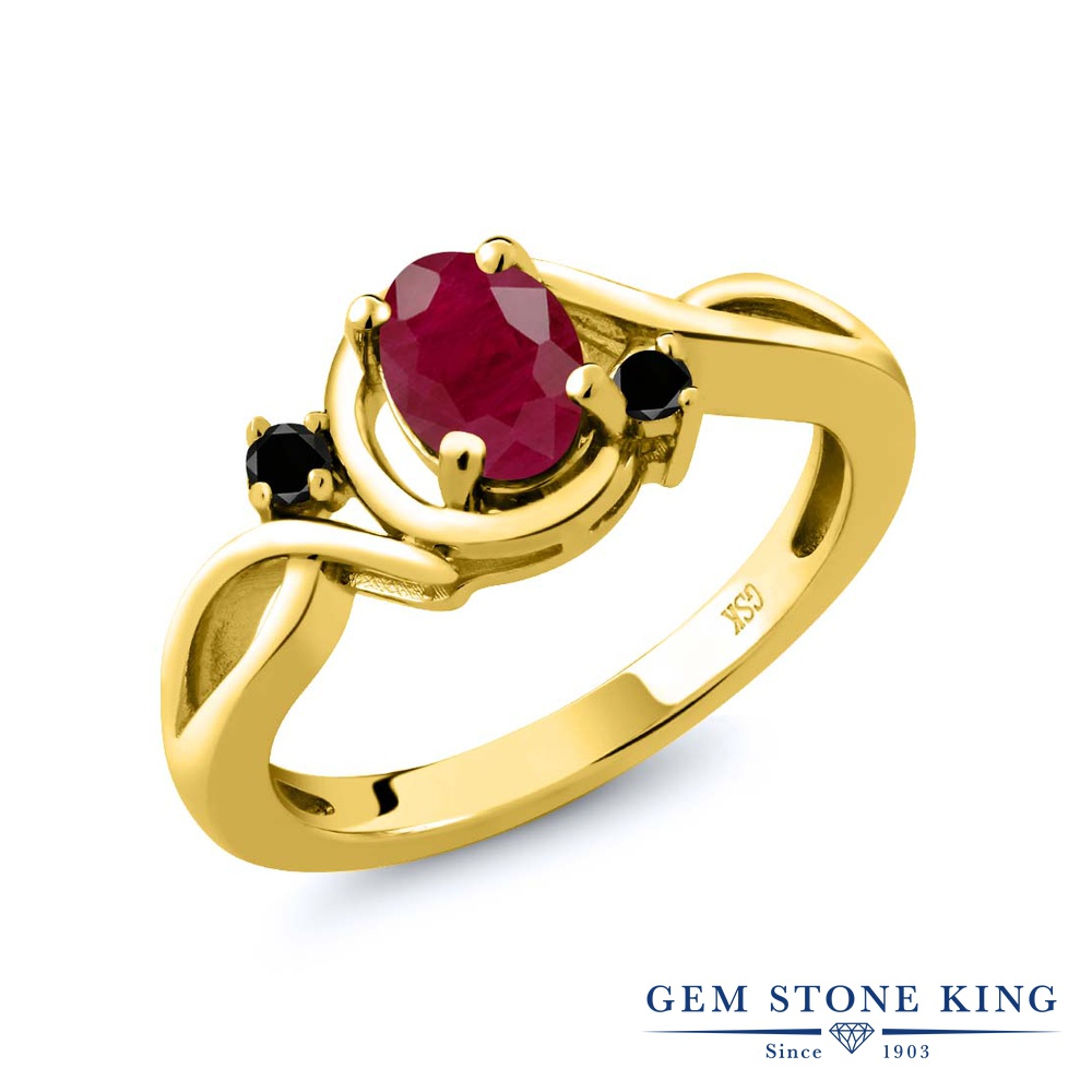 Gem Stone King 1.09カラット 天然 ルビー 天然ブラックダイヤモンド シルバー925 イエローゴールドコーティング 指輪 リング レディース 大粒 シンプル ソリティア 天然石 7月 誕生石 金属アレルギー対応 誕生日プレゼント