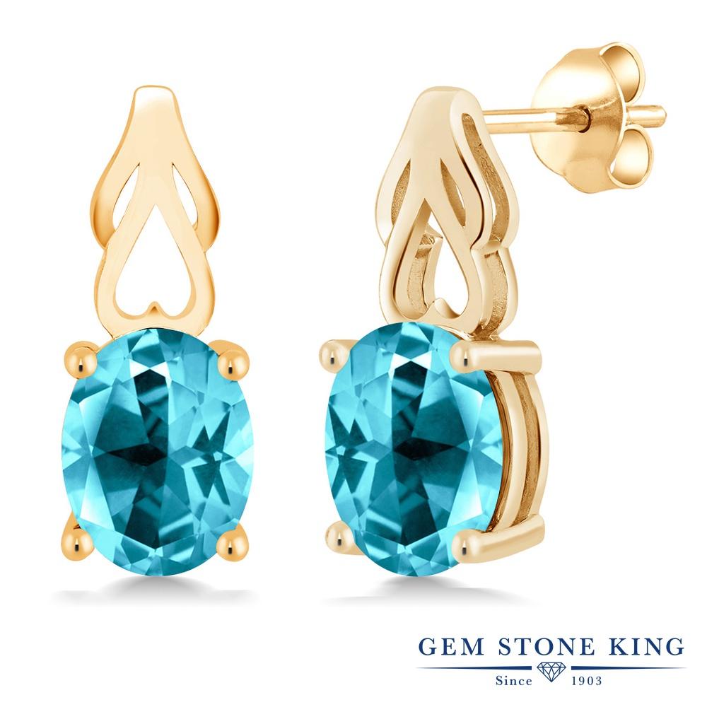 Gem Stone King 4カラット 天然石 パライバトパーズ (スワロフスキー 天然石シリーズ) シルバー925 イエローゴールドコーティング ピアス レディース 大粒 シンプル ぶら下がり 天然石 金属アレルギー対応 誕生日プレゼント