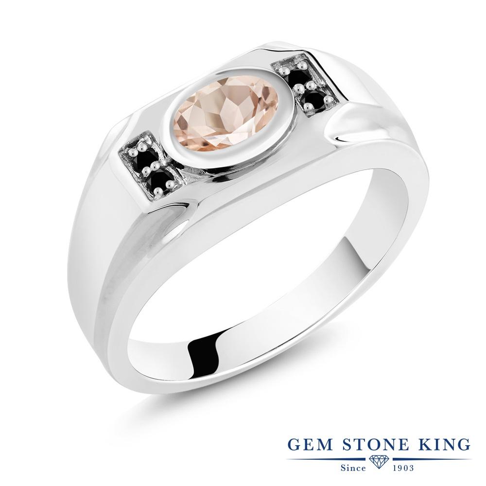 Gem Stone King 1.13カラット 天然 モルガナイト (ピーチ) 天然ブラックダイヤモンド シルバー925 指輪 リング レディース 大粒 マルチストーン 天然石 3月 誕生石 金属アレルギー対応 誕生日プレゼント