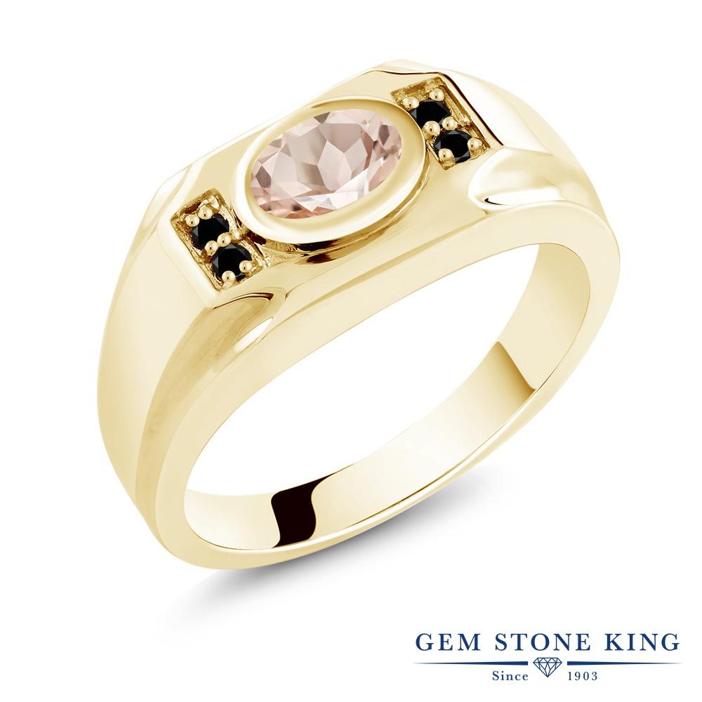Gem Stone King 1.13カラット 天然 モルガナイト (ピーチ) 天然ブラックダイヤモンド シルバー925 イエローゴールドコーティング 指輪 リング レディース 大粒 マルチストーン 天然石 3月 誕生石 金属アレルギー対応 誕生日プレゼント