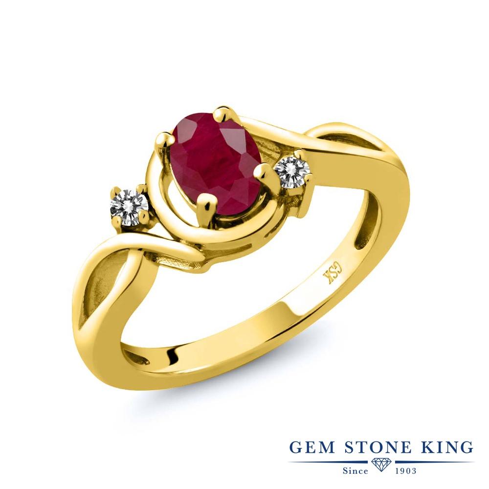 Gem Stone King 1.09カラット 天然ルビー シルバー 925 イエローゴールドコーティング 天然ダイヤモンド 指輪 リング レディース 大粒 シンプル 天然石 誕生石 誕生日プレゼント