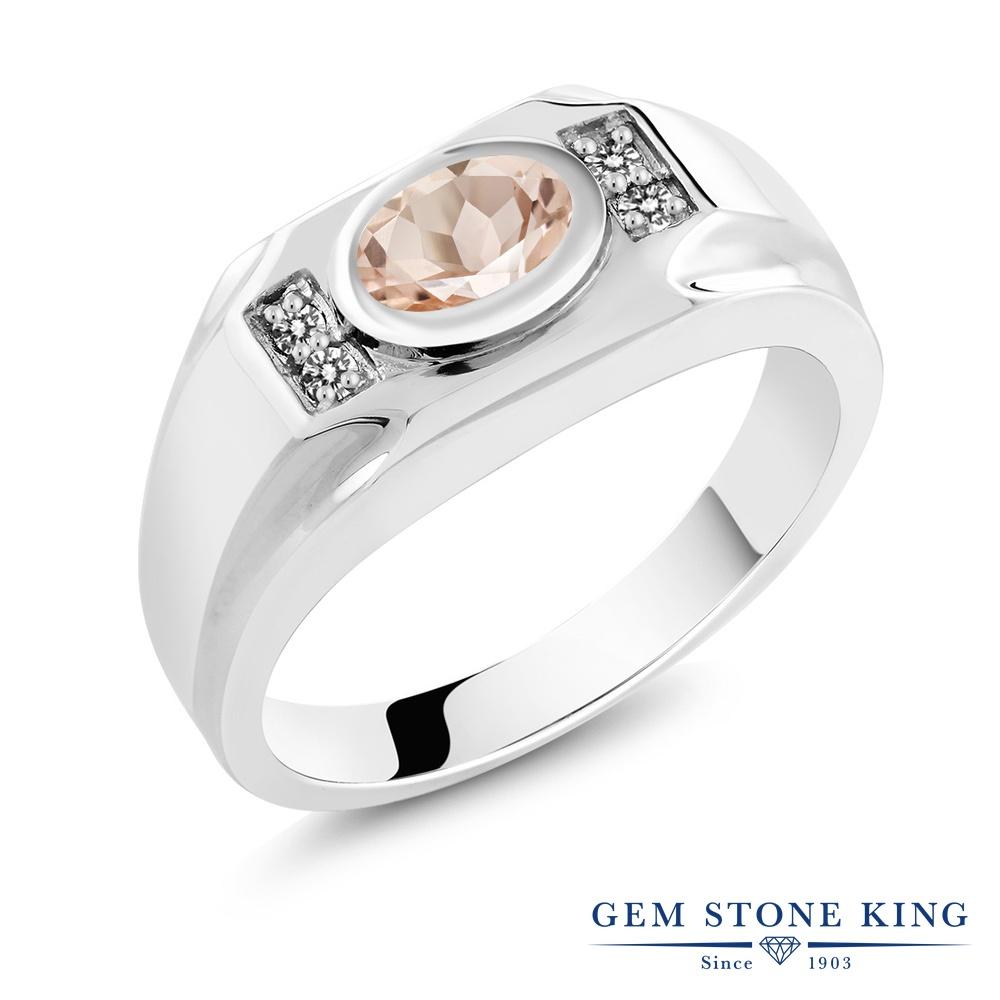 Gem Stone King 1.13カラット 天然モルガナイト(ピーチ) シルバー925 天然ダイヤモンド 指輪 リング レディース 大粒 天然石 誕生石 誕生日プレゼント