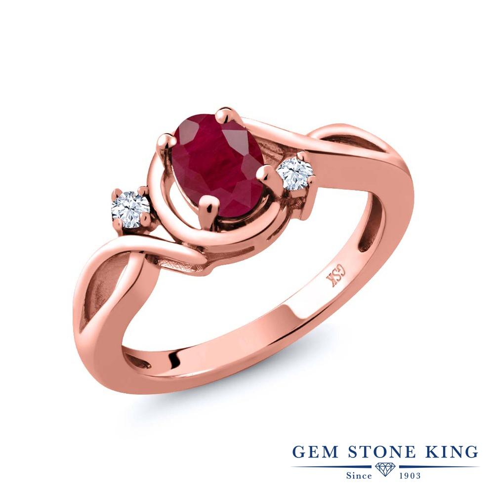 Gem Stone King 1.1カラット 天然 ルビー 天然 トパーズ (無色透明) シルバー925 ピンクゴールドコーティング 指輪 リング レディース 大粒 シンプル ソリティア 天然石 7月 誕生石 金属アレルギー対応 誕生日プレゼント
