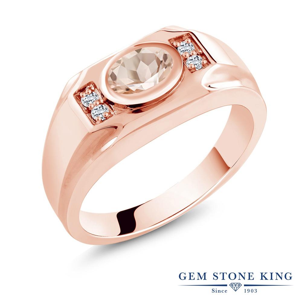 【10%OFF】 Gem Stone King 1.16カラット 天然 モルガナイト (ピーチ) トパーズ 指輪 リング レディース シルバー925 ピンクゴールド 加工 大粒 マルチストーン 天然石 3月 誕生石 クリスマスプレゼント 女性 彼女 妻 誕生日