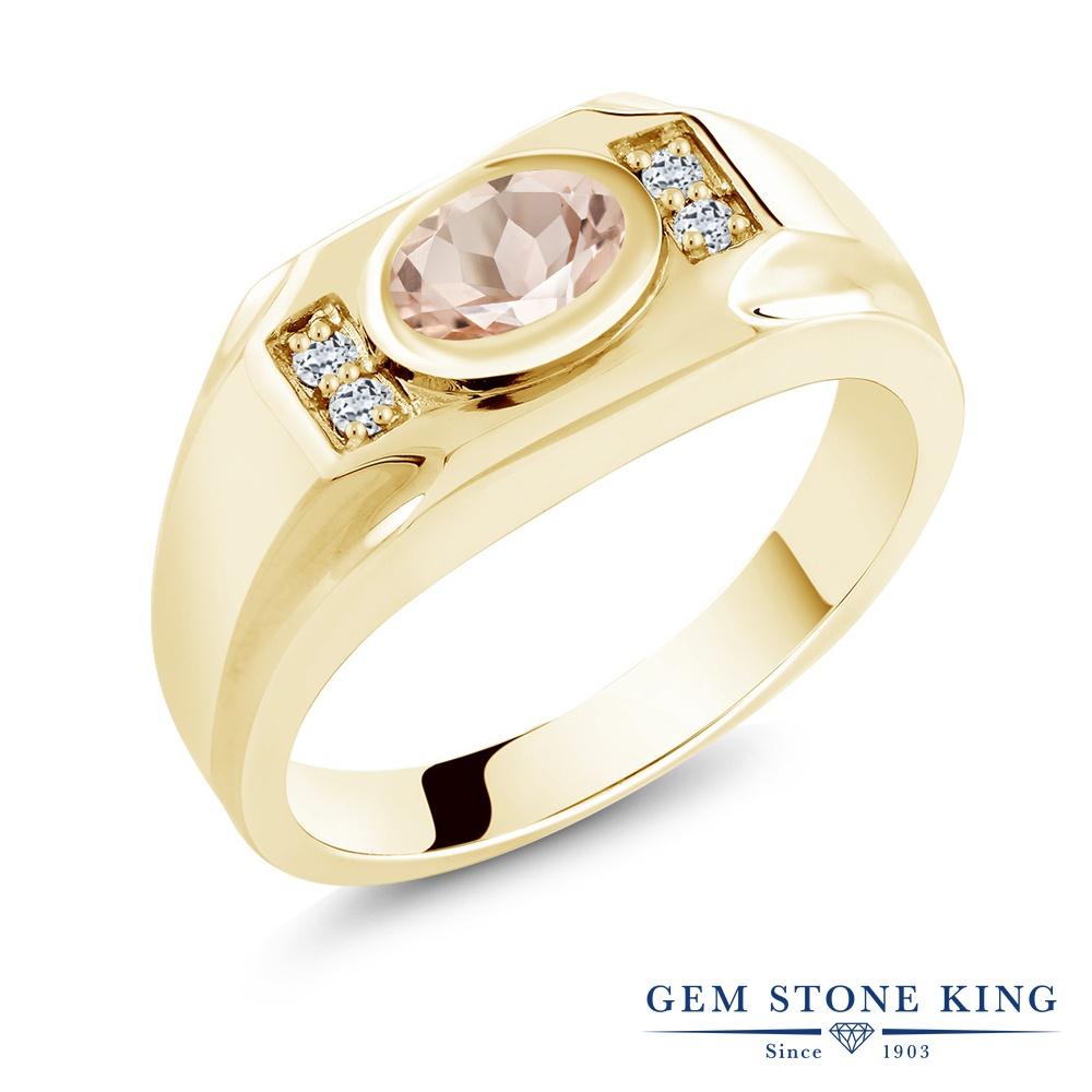 Gem Stone King 1.16カラット 天然 モルガナイト (ピーチ) 天然 トパーズ (無色透明) シルバー925 イエローゴールドコーティング 指輪 リング レディース 大粒 マルチストーン 天然石 3月 誕生石 金属アレルギー対応 誕生日プレゼント