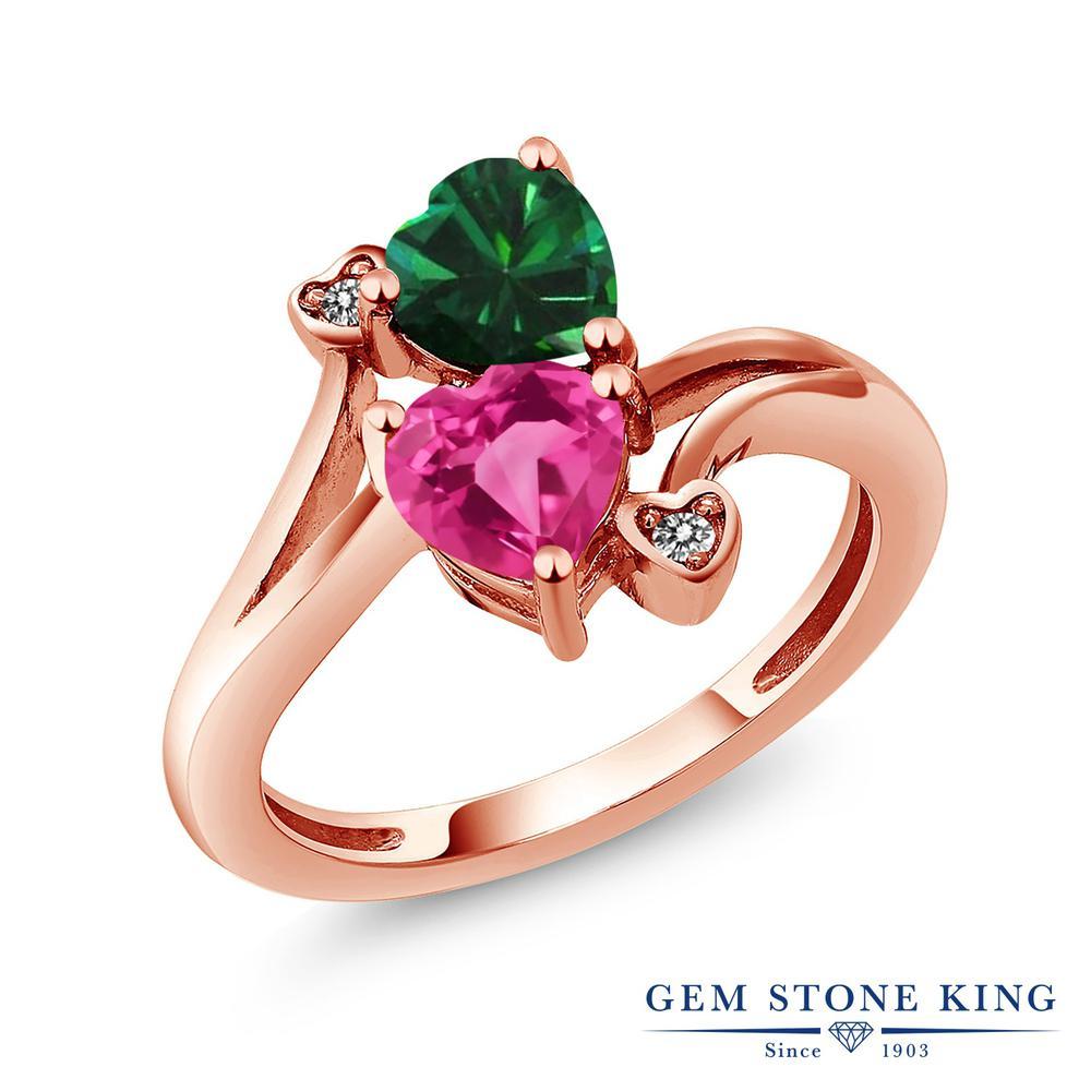 1.66カラット ナノエメラルド 指輪 レディース リング 天然 ミスティックトパーズ (ピンク) ダイヤモンド ピンクゴールド 加工 シルバー925 ブランド おしゃれ ハート 緑 ダブルストーン 金属アレルギー対応