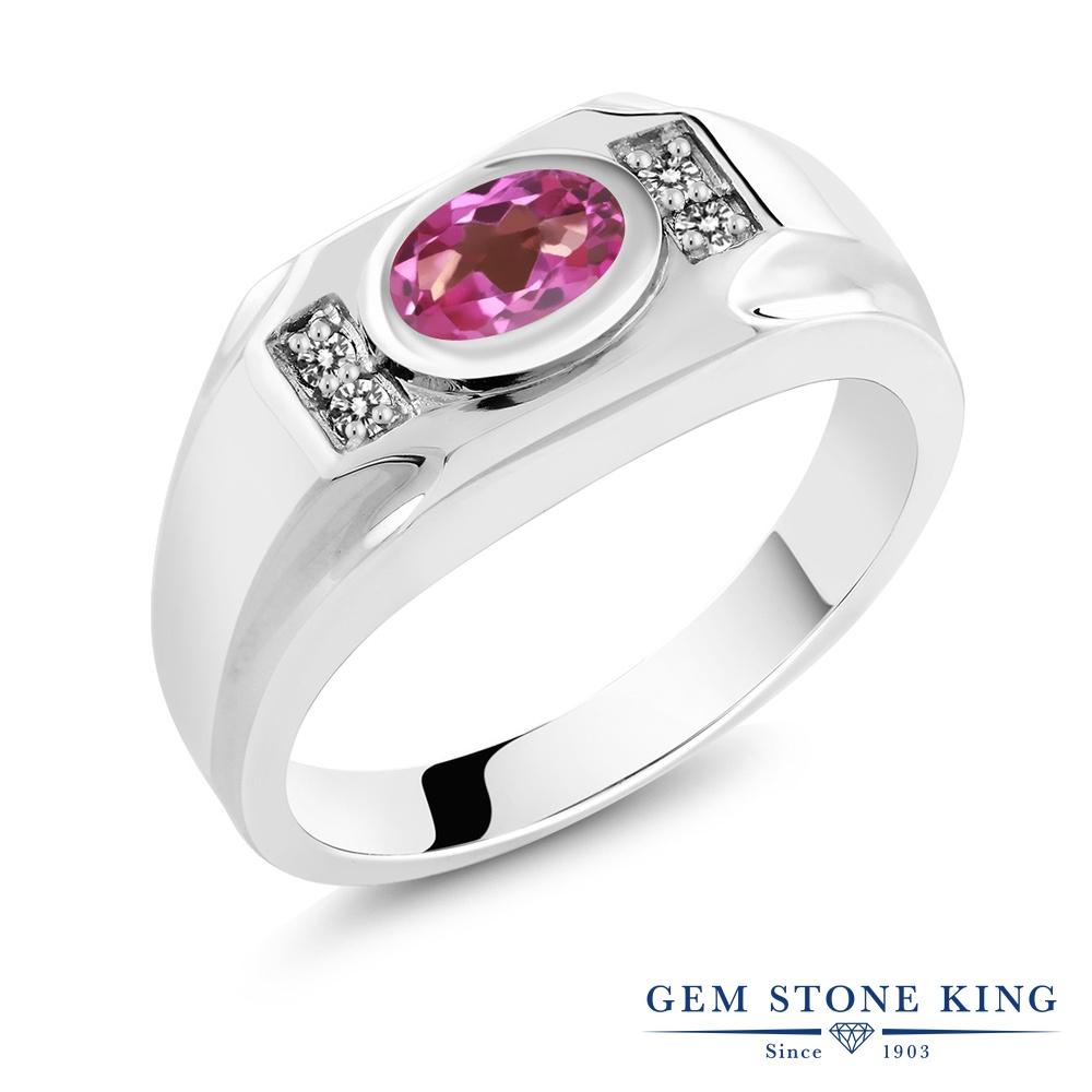 【10%OFF】 Gem Stone King 1.63カラット 天然 ミスティックトパーズ (ピンク) ダイヤモンド 指輪 リング レディース シルバー925 大粒 マルチストーン 天然石 クリスマスプレゼント 女性 彼女 妻 誕生日