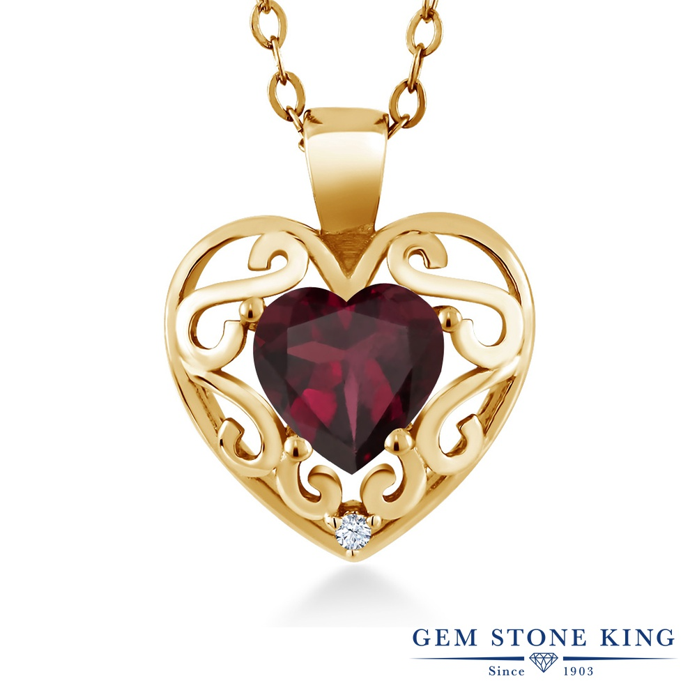 Gem Stone King 0.73カラット 天然ロードライトガーネット シルバー 925 イエローゴールドコーティング ネックレス ペンダント レディース シンプル 天然石 誕生日プレゼント