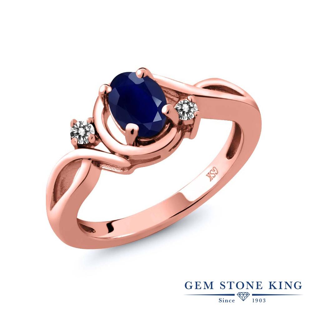 【10%OFF】 Gem Stone King 1.09カラット 天然 サファイア ダイヤモンド 指輪 リング レディース シルバー925 ピンクゴールド 加工 大粒 シンプル ソリティア 天然石 9月 誕生石 クリスマスプレゼント 女性 彼女 妻 誕生日