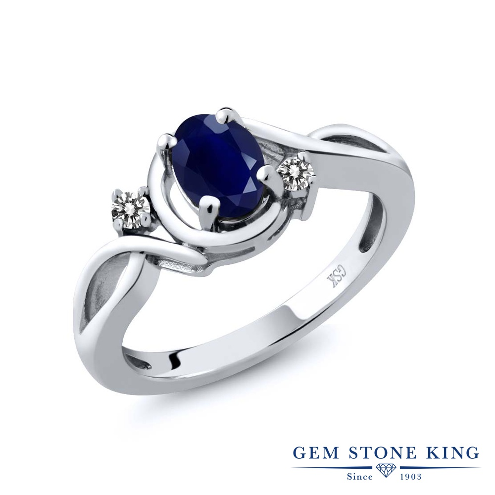 【10%OFF】 Gem Stone King 1.09カラット 天然 サファイア ダイヤモンド 指輪 リング レディース シルバー925 大粒 シンプル ソリティア 天然石 9月 誕生石 クリスマスプレゼント 女性 彼女 妻 誕生日