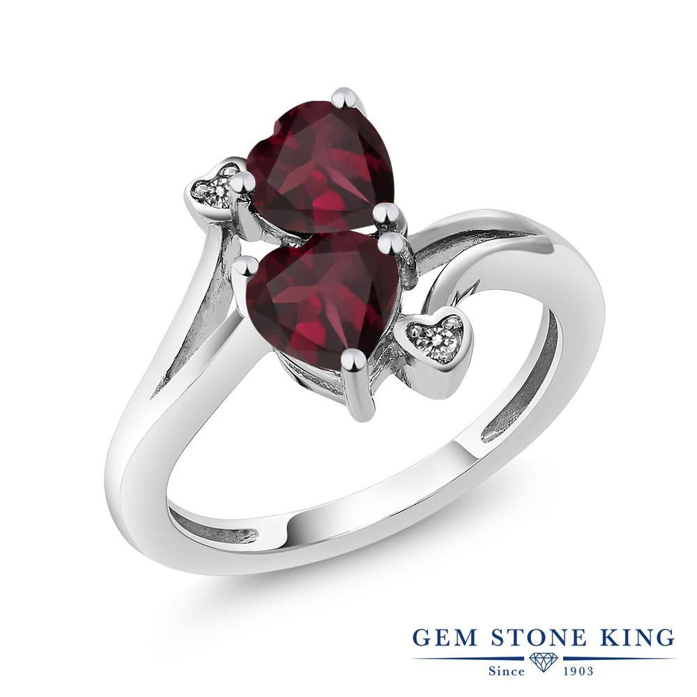 Gem Stone King 1.47カラット 天然 ロードライトガーネット ダイヤモンド 指輪 リング レディース シルバー925 ダブルストーン 天然石 金属アレルギー対応
