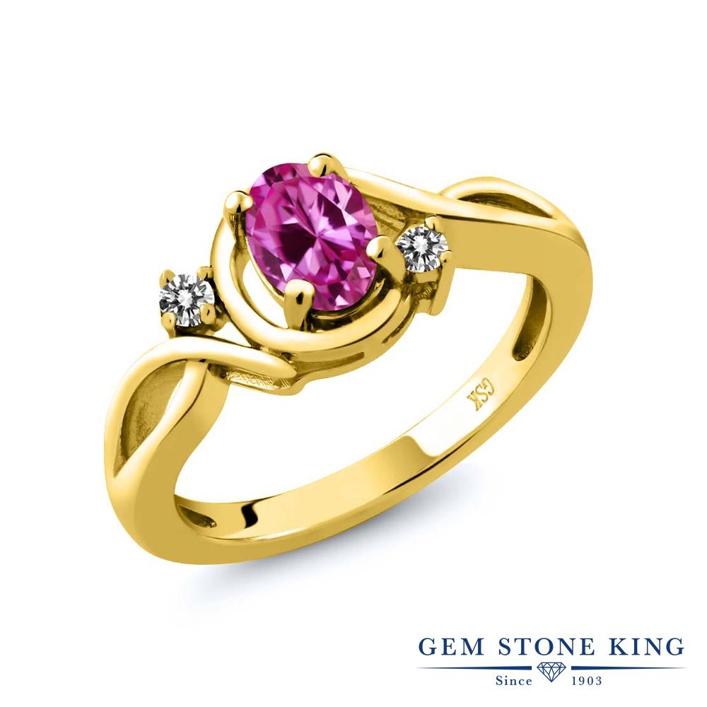 Gem Stone King 0.97カラット 合成ピンクサファイア 天然 ダイヤモンド シルバー925 イエローゴールドコーティング 指輪 リング レディース シンプル ソリティア 金属アレルギー対応 誕生日プレゼント