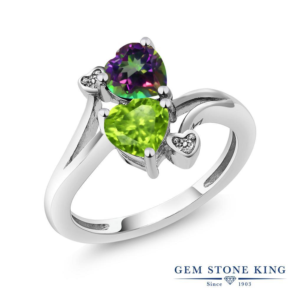 リング レディース 人気 ブランド 女性 プレゼント 1.81カラット 天然石 ミスティックトパーズ グリーン 超安い 指輪 緑 金属アレルギー対応 ハート 天然 ホワイトデー ペリドット ダブルストーン シルバー925 お返し ダイヤモンド 迅速な対応で商品をお届け致します おしゃれ