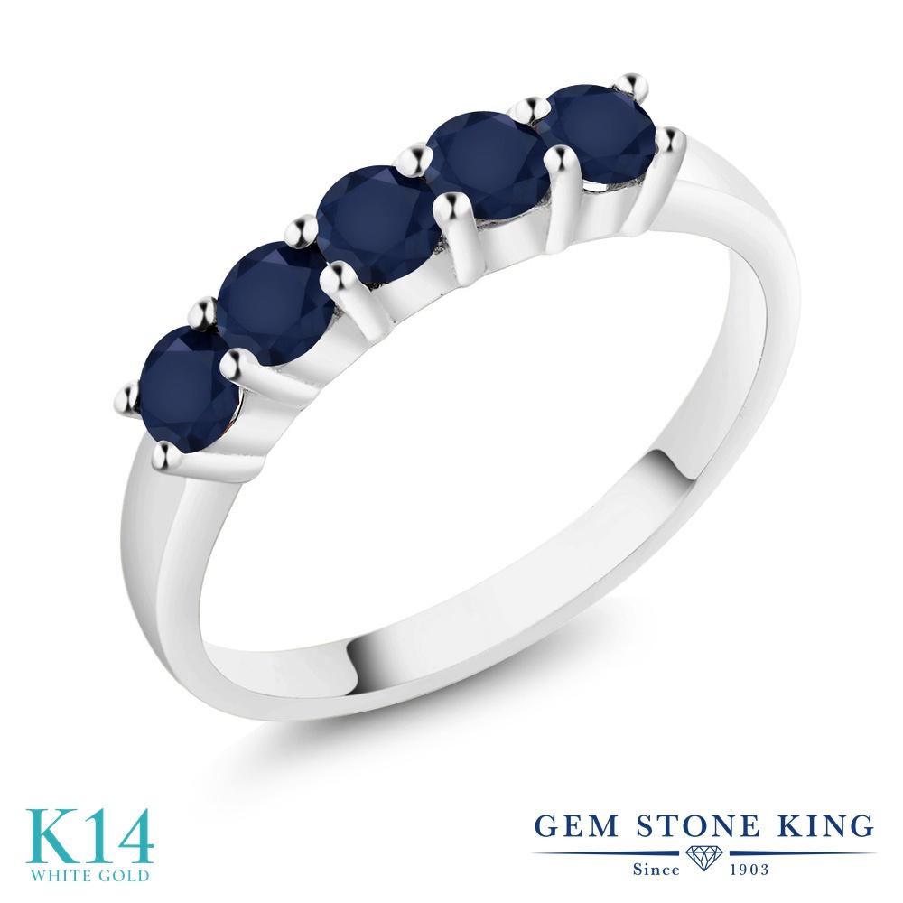 【クーポンで10%OFF】 Gem Stone King 1.2カラット 天然 サファイア 14金 ホワイトゴールド(K14) 指輪 リング レディース 大粒 ハーフエタニティ 天然石 9月 誕生石 金属アレルギー対応 誕生日プレゼント