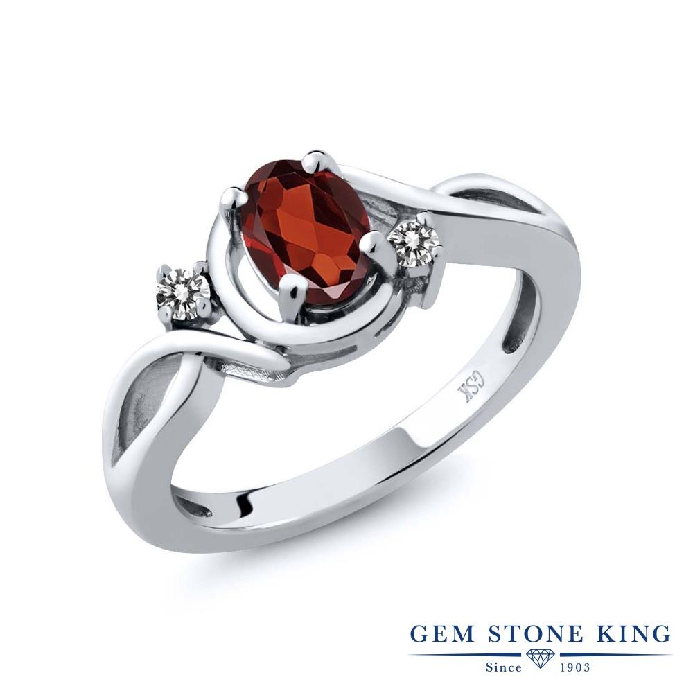 【10%OFF】 Gem Stone King 0.97カラット 天然 ガーネット ダイヤモンド 指輪 リング レディース シルバー925 シンプル ソリティア 天然石 1月 誕生石 クリスマスプレゼント 女性 彼女 妻 誕生日