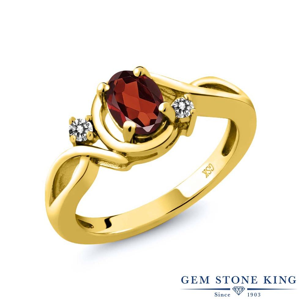 Gem Stone King 0.97カラット 天然 ガーネット 天然 ダイヤモンド シルバー925 イエローゴールドコーティング 指輪 リング レディース シンプル ソリティア 天然石 1月 誕生石 金属アレルギー対応 誕生日プレゼント