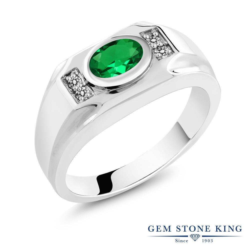 Gem Stone King 1.28カラット ナノエメラルド 天然 ダイヤモンド シルバー925 指輪 リング レディース 大粒 マルチストーン 金属アレルギー対応 誕生日プレゼント