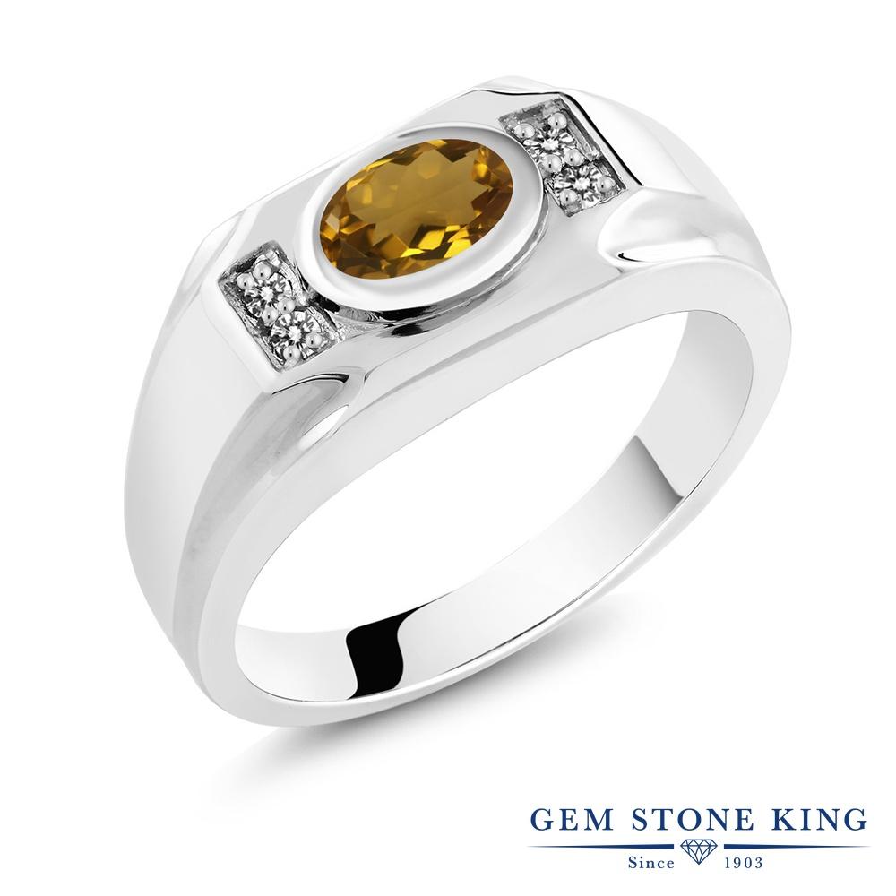 Gem Stone King 1.28カラット 天然石 ウィスキークォーツ 天然 ダイヤモンド シルバー925 指輪 リング レディース 大粒 マルチストーン 天然石 金属アレルギー対応 誕生日プレゼント