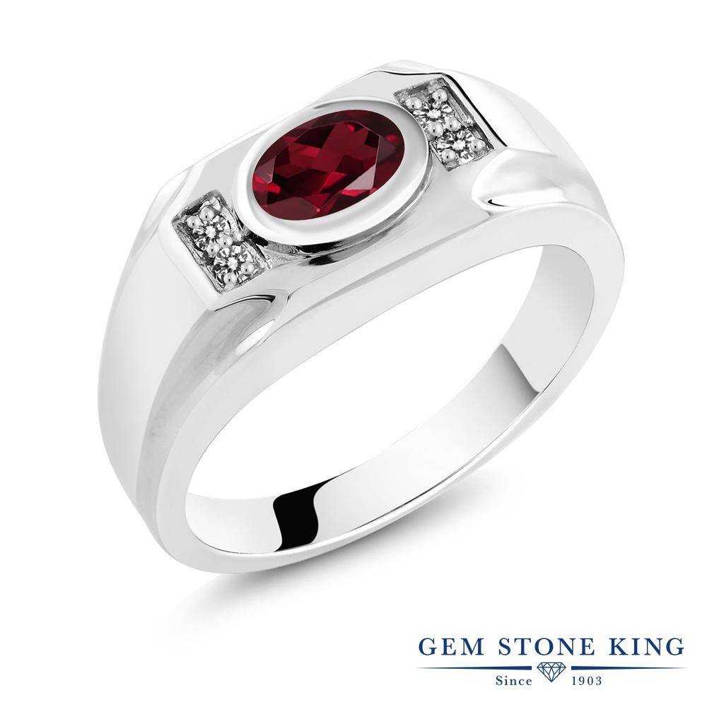 Gem Stone King 1.53カラット 天然ロードライトガーネット シルバー925 天然ダイヤモンド 指輪 リング レディース 大粒 天然石 誕生日プレゼント