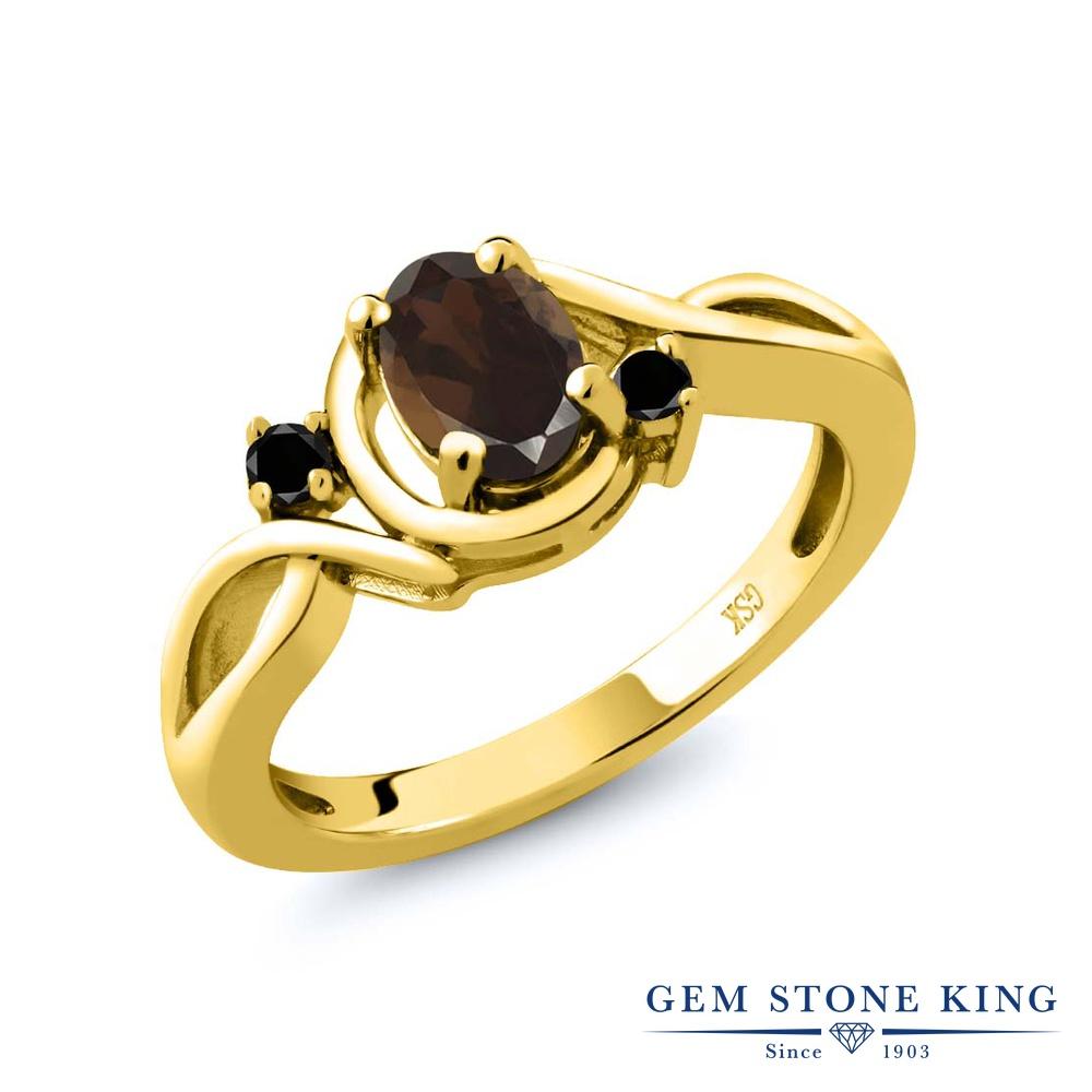 0.82カラット 天然 スモーキークォーツ (ブラウン) 指輪 レディース リング ブラックダイヤモンド イエローゴールド 加工 シルバー925 ブランド おしゃれ ツイスト ねじれ 茶色 シンプル ソリティア 天然石 金属アレルギー対応